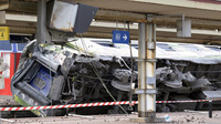 One of the cars that derailed Friday at a train station near Paris.