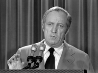 Leonard Garment, acting White House Counsel, briefs the media at the White House on President Nixon's statement about the Watergate affair in 1973.