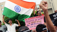 Outside the courthouse in New Delhi on Friday, demonstrators gathered to call for — and then celebrate — the death sentences handed down for four men convicted in a December gang rape and murder of a young woman.
