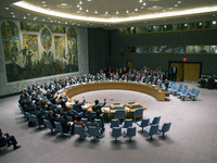 The U.N. Security Council votes on a resolution that will require Syria to give up its chemical weapon, at U.N. Headquarters last month.
