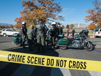 Police secure the scene near Sparks Middle School after a shooting in Sparks, Nev., on Monday.