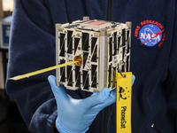NASA's PhoneSat, a four by four-inch cubesat satellite, will use an Android smartphone as its motherboard. It was among the 29 satellites launched Tuesday from Wallops Island, Va. Another miniature satellite, developed by high school students, also was on board.