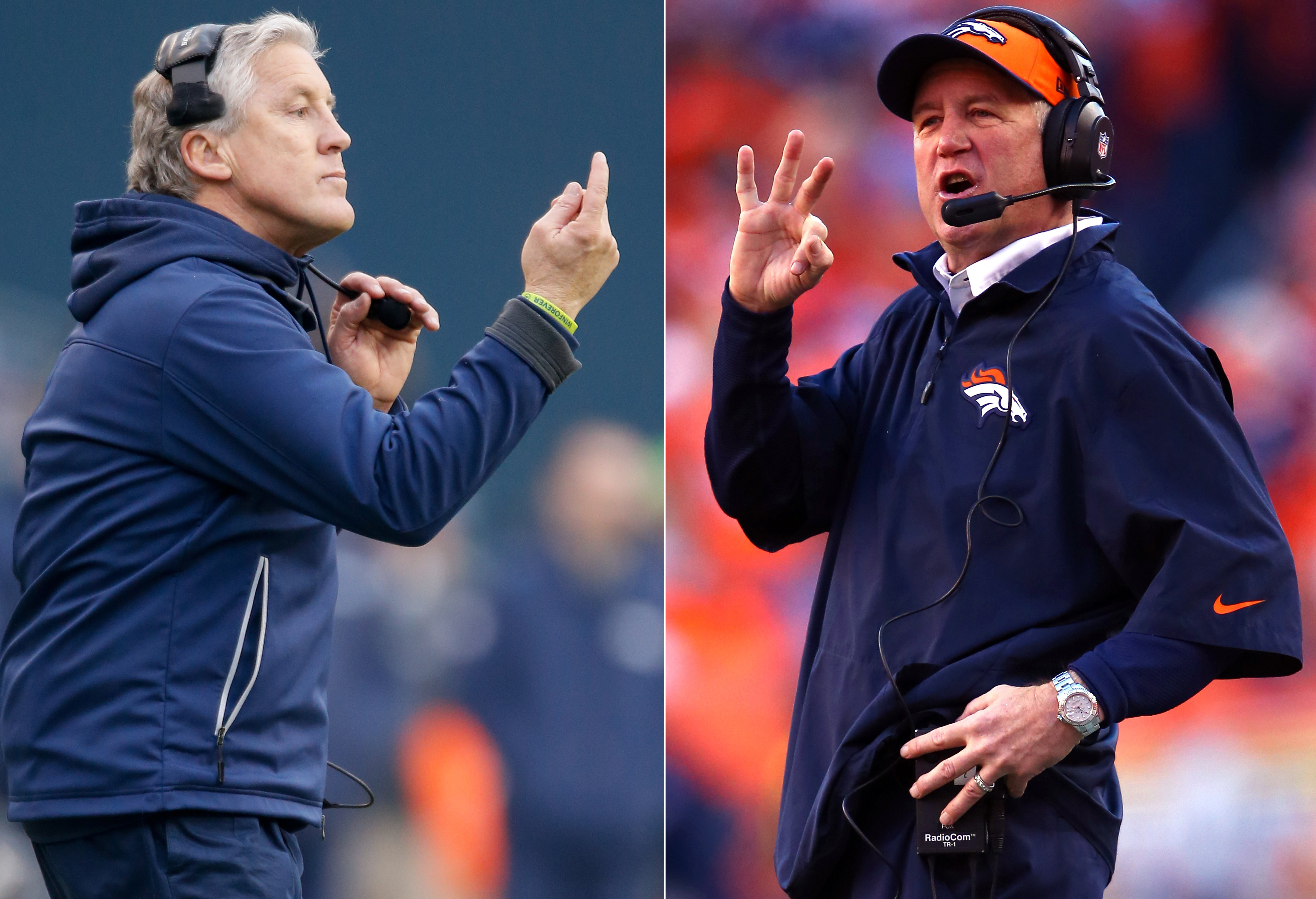 Who will win? Videogame maker EA Sports says its Madden NFL 25 predicts an overtime thriller in Sunday's Super Bowl, with Denver edging Seattle. Here, Seahawks coach Pete Carroll, left, and Broncos coach John Fox are seen in a composite image.