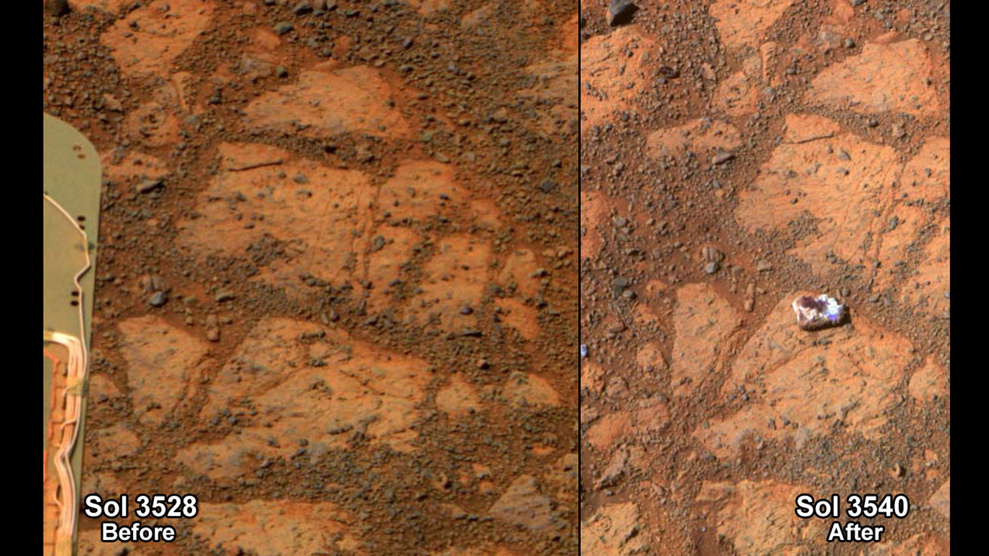 "This composite image provided by NASA shows before and after images taken by the Opportunity rover on Mars of a patch of ground taken on Dec. 26, 2013, showing the ""Pinnacle Island"" rock."