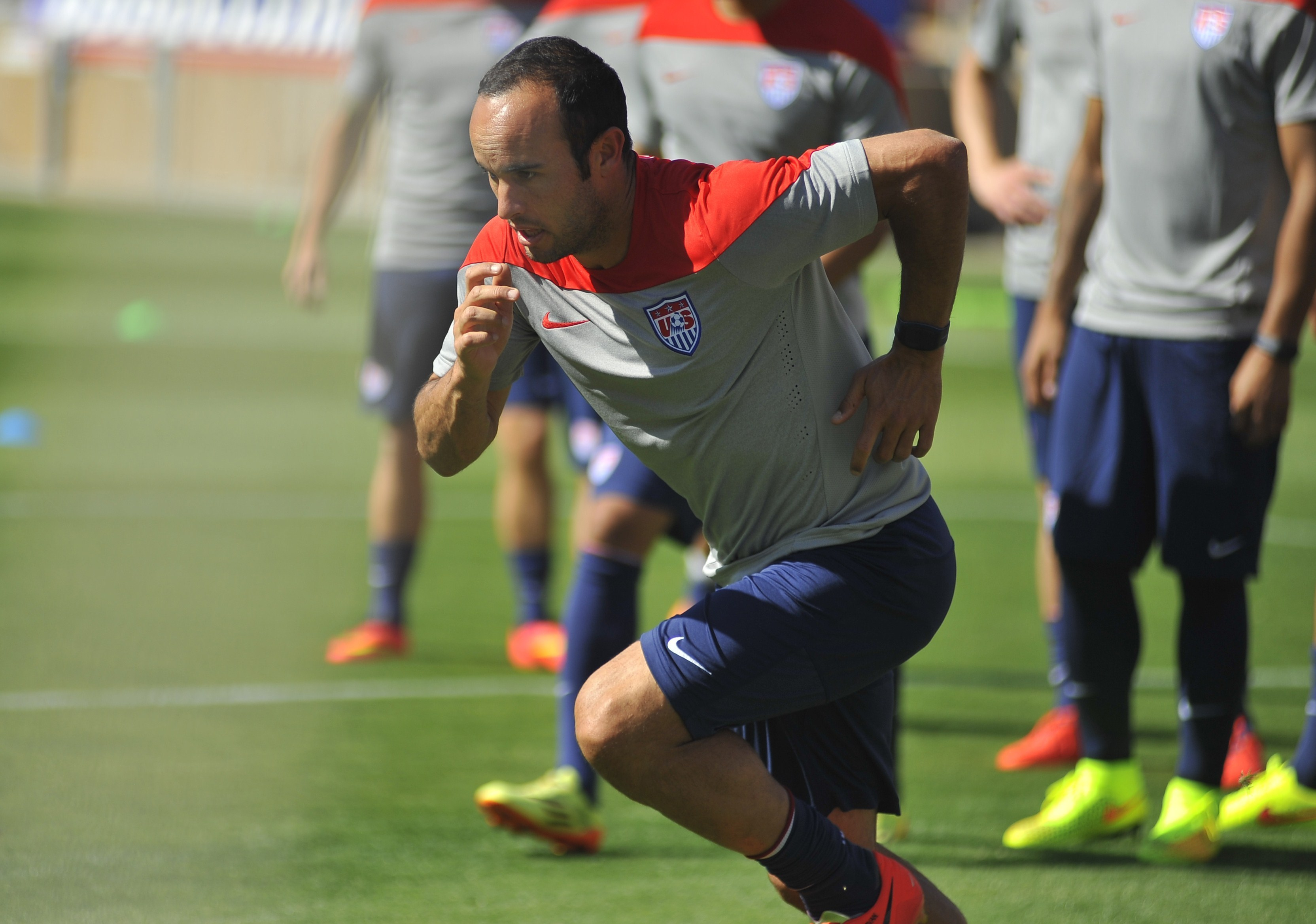 Landon Donovan practices with the U.S. Men's National Team in Stanford, Calif., last week. U.S. Soccer announced Thursday he had not made the roster for the 2014 World Cup in Brazil.