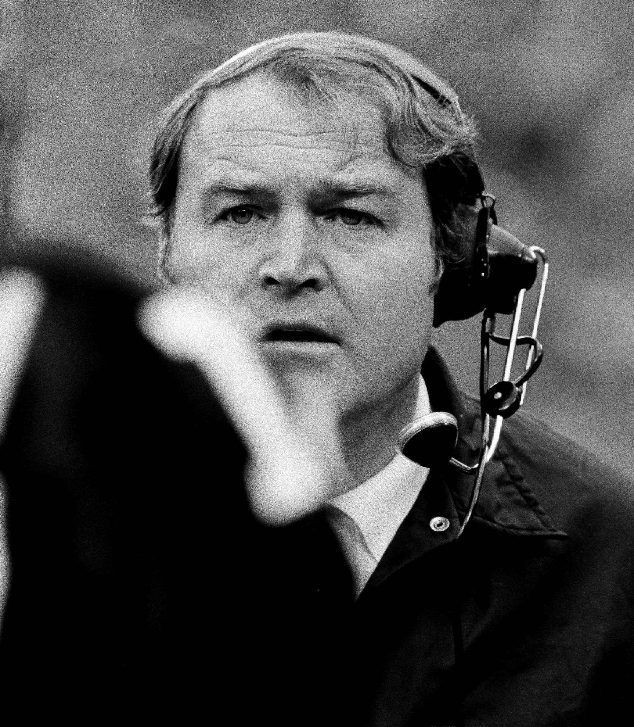Pittsburgh Steelers head coach Chuck Noll shown in 1974 watching his team in action on the sidelines.