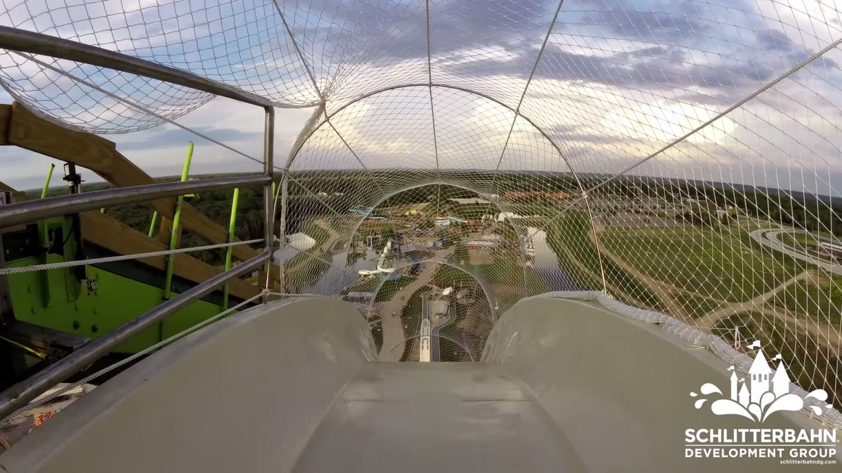 A view from the top of the Verrückt water slide's launch point, in a video that showed a recent test of the slide.