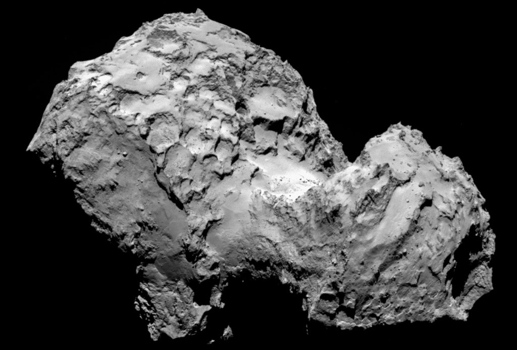 Rosetta's OSIRIS narrow-angle camera took this close-up of the comet 67P/Churyumov-Gerasimenko on Sunday.