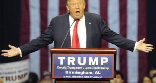 Republican presidential candidate Donald Trump speaks during a campaign stop on Saturday in Birmingham, Ala.