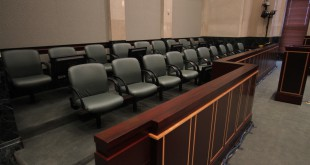The empty jury box in courtroom 23A on the 23rd floor of the Orange County Courthouse, site of the State of Florida vs. Case Anthony murder trial in 2011. Orlando Sentinel/MCT /Landov