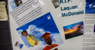 A memorial to Laquan McDonald, 17, is seen in April at the Sullivan House Alternative High School in Chicago. McDonald was shot 16 times by Chicago police Officer Jason Van Dyke in October 2014.