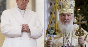 For the first time since their churches split in the 11th century, Pope Francis and Russian Orthodox Patriarch Kirill will meet in person. They're seen here in photos from earlier this year.