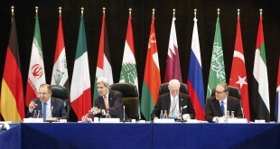 Russian Foreign Minister Sergey Lavrov (left) and Secretary of State John Kerry (second from left) attend the International Syria Support Group meeting in Munich, Germany, on Thursday along with members of the Syrian opposition and other officials.
