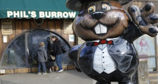 "Visitors look through the windows at the Punxsutawney Public Library where groundhogs are on display at ""Phil's Burrow"" in Punxsutawney, Pa., Monday. On Groundhog Day, the town's iconic groundhog did not see his shadow."