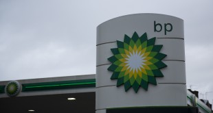BP's logo outside a petrol station in East Molesey, southwest London.