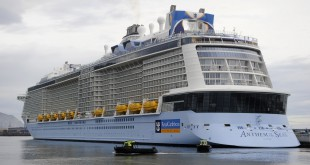 The Royal Caribbean's cruise liner Anthem Of The Seas, the third largest cruise ship in the world, is seen here during its maiden voyage last April.