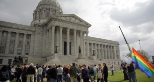 LGBT-rights supporters take part in a rally outside the Capitol in Jefferson City, Mo., on March 31. An amendment to the state Constitution protecting people who object to same-sex marriage failed in a committee vote on Wednesday, effectively killing the bill.