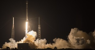 The SpaceX Falcon 9 rocket launches at Cape Canaveral, Fla., early Friday morning, carrying a communications satellite into space.