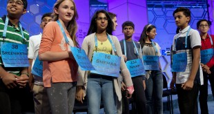 The spellers who made it into the final round of the Scripps National Spelling Bee gather on stage in National Harbor, Md., on Thursday.