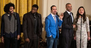 Hamilton got more Tony nominations than either The Producers or Billy Elliot. Here, Broadway cast members including the show's creator and star Lin-Manuel Miranda (in blue) performed at the White House last month.