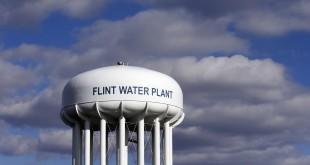 The Flint Water Plant water tower in Flint, Mich.