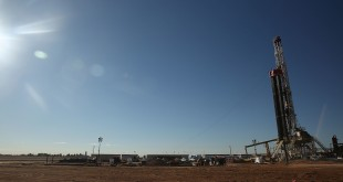 A fracking site is situated on the outskirts of town in the Permian Basin oil field in the town of Midland, Texas.