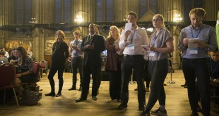 Observers and journalists gather early Friday at Manchester's Town Hall for the announcement of the results in the European Union (EU) referendum.