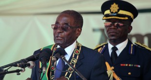Zimbabwean President Robert Mugabe delivers the keynote address during Zimbabwe's 36th Independence Day celebrations in February in Harare.