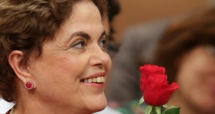 Brazil's suspended president, Dilma Rousseff, smiles during a rally Wednesday in Brasilia, Brazil.