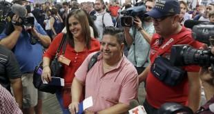 Passengers in Fort Lauderdale, Fla., prepare to board JetBlue Flight 387 to Santa Clara, Cuba, on Wednesday.