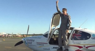 Lachlan Smart, 18, waves at friends and family after landing Saturday in the Sunshine Coast, Australia, in a video posted by the Sunshine Coast Council.