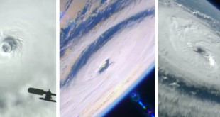 Hurricanes Lester, Madeline and Gaston (from left to right) are seen from the International Space Station on Aug. 30.