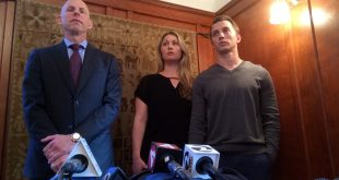 Lawyer Anthony Douglas Rappaport speaks at a news conference with his clients, Denise Huskins and her boyfriend Aaron Quinn (right) in San Francisco on Thursday.