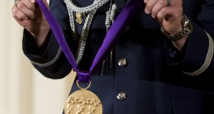 A detail of the 2014 National Medal of Arts during a ceremony in the East Room at the White House in September 2015.