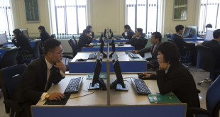 North Korean students work at computer terminals inside a computer lab at Kim Il Sung University in Pyongyang, North Korea in January 2013.