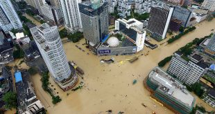 The streets of Xiamen in eastern China's Fujian province were submerged by floodwaters brought by Typhoon Megi on Wednesday.