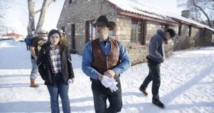 Ryan Bundy (center) walks through the Malheur National Wildlife Refuge near Burns, Ore., on Jan. 8.