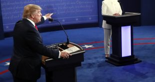 Republican presidential nominee Donald Trump debates Democratic presidential nominee Hillary Clinton during the third presidential debate at UNLV in Las Vegas, on Wednesday.