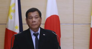 Philippine President Rodrigo Duterte attends a joint press conference with Japanese Prime Minister Shinzo Abe (not pictured) at the prime minister's office in Tokyo on Wednesday. Duterte made a pitch for enhanced economic ties with Japan.