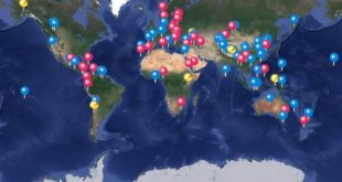 A map created by Junko Tabei's personal website shows the locations of dozens of her climbs.