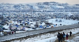 A view of the Oceti Sakowin camp, north of the Cannonball River, where people have gathered to protest the Dakota Access oil pipeline.