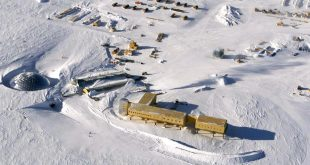 The U.S. Amundsen-Scott South Pole Station in Antarctica as seen in 2002.