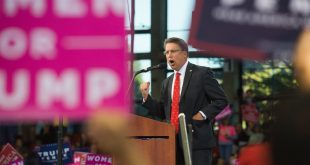 Governor of North Carolina, Pat McCrory, speaks during a Trump rally in November.