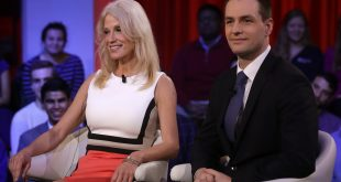 Trump campaign manager Kellyanne Conway sits with Robby Mook, Clinton's campaign manager, before a forum at Harvard University's Kennedy School of Government.