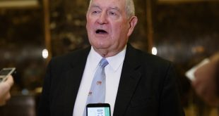 Former Georgia Gov. Sonny Perdue talks with reporters after meeting with President-elect Donald Trump in New York in November 2016. He's Trump's choice for agriculture secretary.