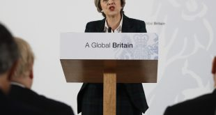 Britain's Prime Minister Theresa May delivers a speech on leaving the European Union in London on Tuesday.
