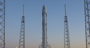 In this handout provided by the NASA, SpaceX's Falcon 9 rocket sits on the launching pad with the JCSAT-14 communications satellite in May 2016.