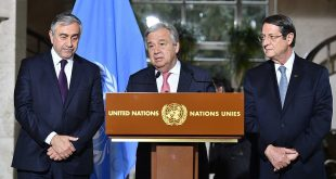 Secretary General of the United Nations Antonio Guterres (center) makes a statement Thursday. He is flanked by Turkish Cypriot leader Mustafa Akinci (left) and Greek Cypriot leader Nicos Anastasiades (right) in Geneva, Switzerland.