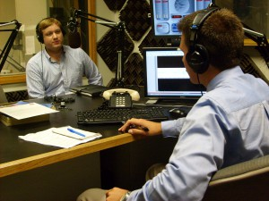 Florida's 89.1, WUFT-FM's Steven Gallo interviewing IFAS doctoral student John Perry