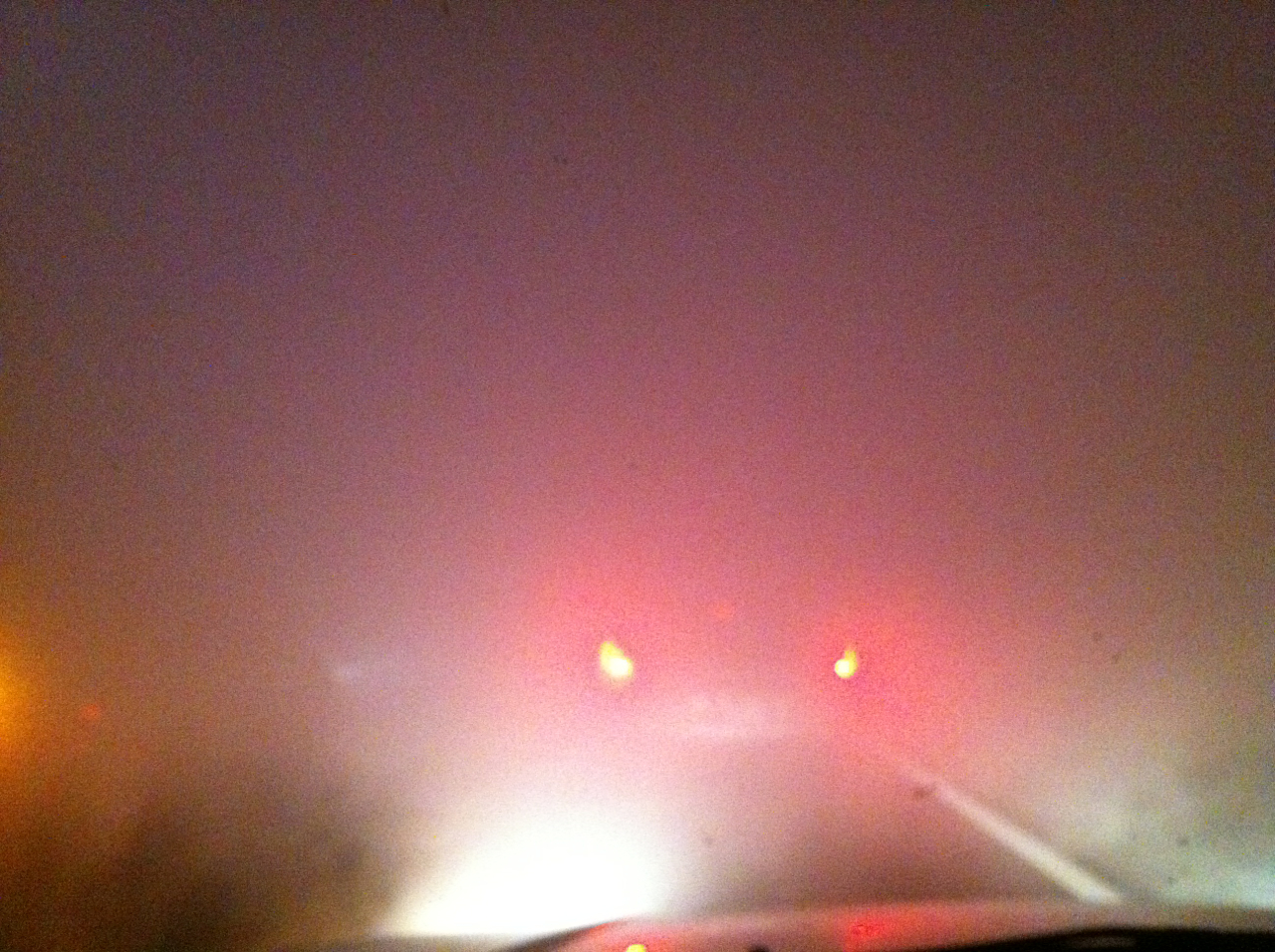 Cars braking during dense smoke on I-75 on the night of the multi-vehicle accident (photo by Ronny Herrera)
